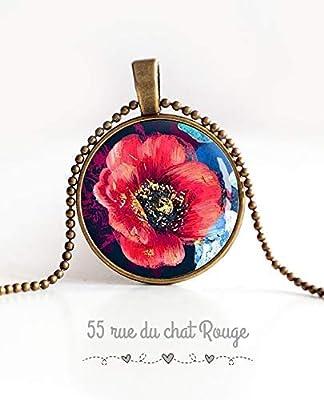 Collier pendentif cabochon 25 mm, Cabochon Grosse fleur rouge, coquelicot rouge, bleu nuit