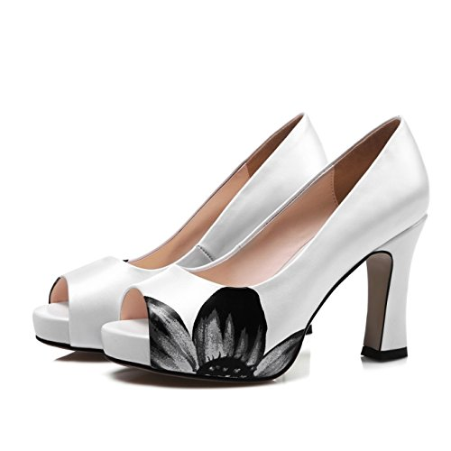 Zormey S. Romantik Frauen Sandalen Aus Echtem Leder Mode Büro Slip-On Lady Pumps Peep Toe High Seltsame Ferse Frauen Schuh Rosa Weiß Ss 799 8.5