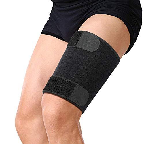 Oberschenkelbandage Doact Oberschenkel-Unterstützung mit Silikon-Anti-Rutsch-Streifen Einstellbare Kniesehne Kompressions-Wrap für Pulled Injury Belastung Tendinitis Rehabilitation -