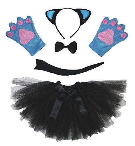 Blaue Katze Kostüm - Petitebelle Blaue Katzen-Kostüm-Stirnband Handschuhe Tutu 5pc Set für die Dame Einheitsgröße Schwarz