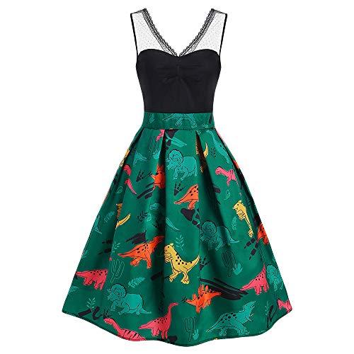 5377d2ead PASSOSIE DRESSFO Women's Midi Dress Lace Panel Casual Vintage Sleeveless  Party A-Line