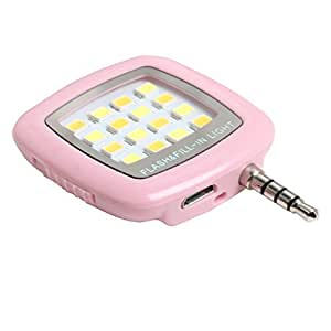 Photron Universal Portable Mini 16 LED, 3.5mm Jack, Selfie Enhancing Dimmable Flash Fill-in Light, Torch, for Cellphone, Mobile, FL100, Pink, Plug & Play