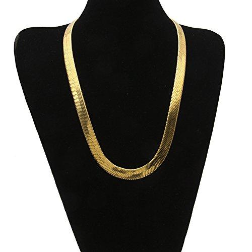 Modow 18 Karat Gold Schlangenkette Shop 1cm Flache Schlange/Drachenknochen Retro Hip Hop Herringbone Kette Halskette Schmuck (Gold Schlange-kette Armband)