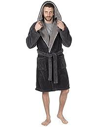 Pierre Roche Mens Plain Sherpa Fleece Dressing Gown Robe Warm Winter Robe Navy Blue Grey Hooded Or Shawl Collar Size M L XL 2XL 3XL 4XL 5XL