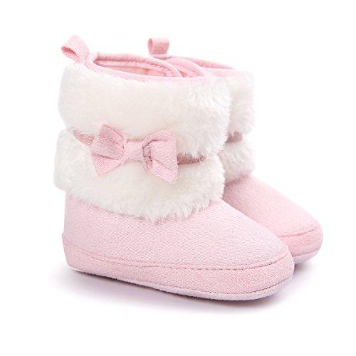 Baby Mädchen Anti-Rutsch-Booties Weiche Sohle Winter warme Stiefel Schuhe Krippe 0-12 Monate Weiß