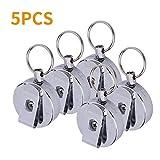 5er Set Metall Schlüsselanhänger mit elastischen Stahldraht Seil tragbare ausfahrbar Stahldraht Seil Schlüsselanhänger