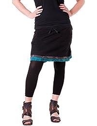Vishes – Alternative Bekleidung – Kurzer Lagenlook Rock aus Baumwolle – mit Taschen zum Binden