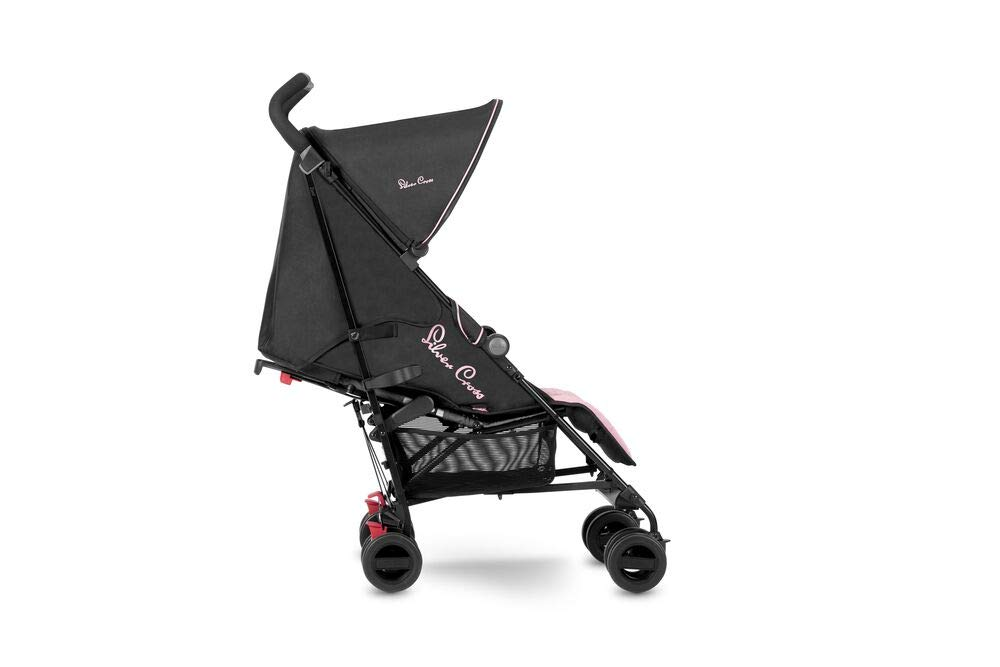 Silver Cross Zest Powder Pink Silver Cross Ultra lightweight zest pushchair, weighing in at only 5.8kg, is suitable from birth up to 25kg It has a convenient one-hand fold, while the compact design makes it easy to store The fully lie-flat recline is best in its class 2