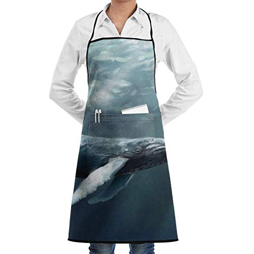 Drempad Unisex Schürzen, Water Whale Painting Aprons for Women with Pockets Water Resistant Adjustable Kitchen Aprons Dish Washing Grooming Chef Aprons -