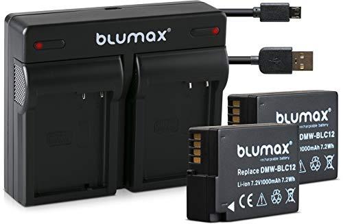 Blumax 2X Akku ersetzt Panasonic DMW-BLC12 / DMW-BLC12-E 1000mAh + Mini Dual-Ladegerät USB | kompatibel mit Lumix DMC: G5 | G6 | GX8 | G70 | G81 | GH2 | FZ200 | FZ300 | FZ1000 | FZ2000 | Leica V-Lux 4