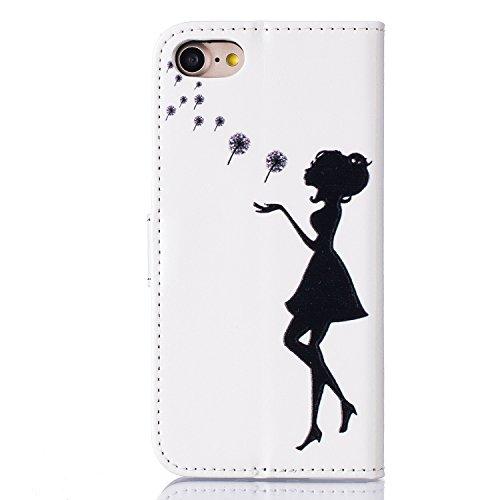 PU Pelle Custodia per iPhone 7 (4.7 pollici), DaGeLon Flip Cover Portafoglio Cassa con Funzione di Supporto e Slot per Schede Caso Protettivo Case Antiurto - ( Farfalla & Rosa ) stile 5 - Ragazza & Dente di leone