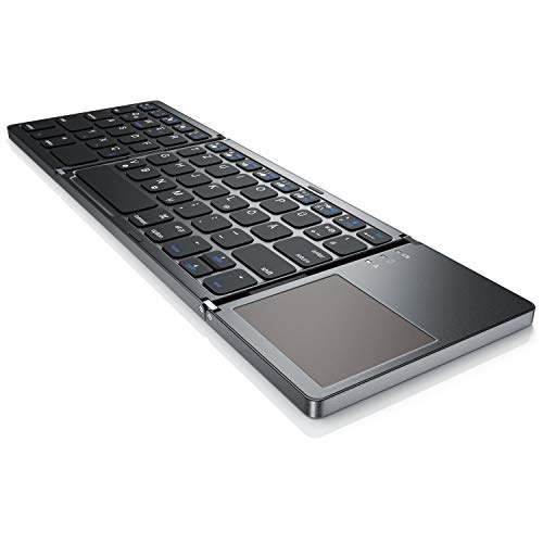 Super-mini-tastatur (CSL - Bluetooth Tastatur klappbar mit Touchpad für PC Smartphone oder Tablet | faltbares Keyboard im Super Slim Design | Multitouch-Gestensteuerung Windows 8/8.1/10 | QWERTZ deutsches Layout)