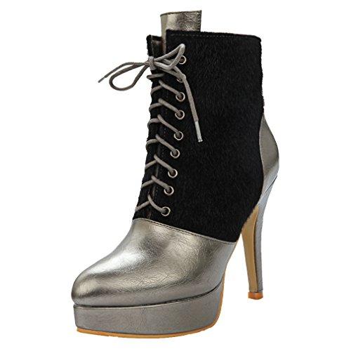 ENMAYER Frauen Synthetische Stiletto High Heel Stiefeletten Silber-Grau