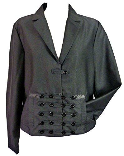 Frauen Black militärischen Womens Military -Stil schwarze Gothic Steampunk viktorianische Leicht boxy Jacke -16 44 (Militärischen Stil Frauen Jacke)