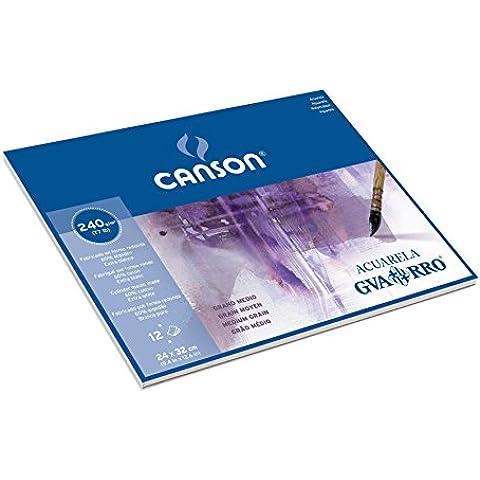 Canson Guarro Acuarela 1 lado-Adhesivo de papel para pintar con Acuarela grano medio 240 g, 12 hojas, 24 x 32 cm, color