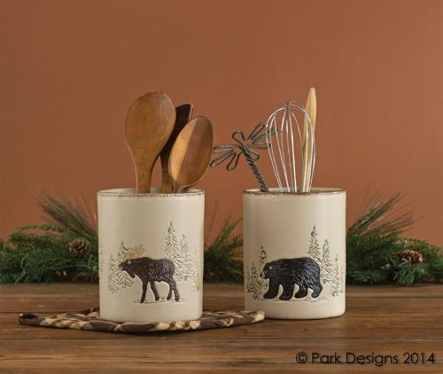 rustic-retreat-utensil-crock-ceramic-stoneware-cream-bear-moose-pine-trees-country-rustic-cabin-lodg
