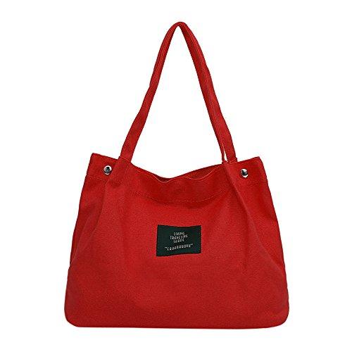 jfhrfged-bag Frauen-Mädchen-Segeltuch-Schulter-Beutel-Buchstabe-Crossbody Handtaschen-Retro einfaches (Rot, 37cm(L)/27cm(H)/17cm(W)) - E/w-cross-body-organizer