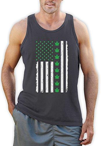 Präsentidee US Flagge mit Hanfblatt Motiv Tank Top Dunkelgrau