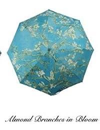 wei Paraguas de Pintura Van Gogh Sombrilla Plegable automática Sombrilla Protectora de plástico Plateada,Flor