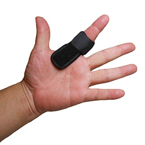 IRUFA,3D Breathable Elastic Fabric Finger Splint, for Trigger Finger, Straightening Curved, Bent, Locked & Stenosing Tenosynovitis Hands, Black, One Size Fit Most, One PCS - Curved Fabric