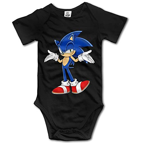 Doormat-bag Sonic The Hedgehog Lovely for Climbing Clothes Infant Rompers - Black 12 Months