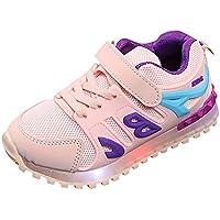 Abstand Unisex-Kinder LED Sneakers Mode Blinkschuhe Low-Top Casual Outdoor Sneakers Laufschuhe Sportschuhe Hallenschuhe für Jungen und Mädchen Größe 21-30