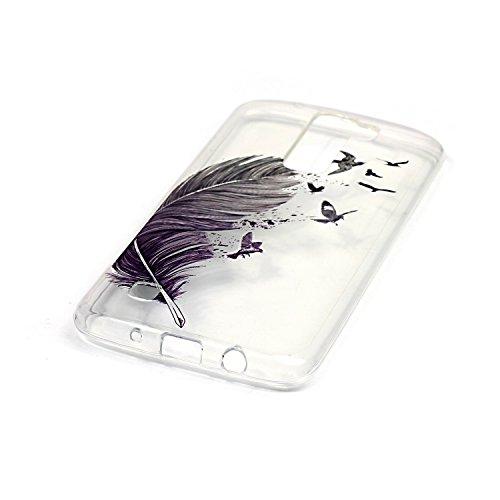 LG K8 Custodia in Pelle ,Feeltech iPhone SE/5S/5 Ultra Sottile Crystal Clear Copertura in Silicone Alta Qualità Colorful Design Pattern Jelly Protective Flessibile Soft Shell di TPU Gel Assorbimento U Piuma Uccello # 1