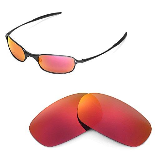 Walleva Ersatzgläser für Oakley Square Wire 2.0 Sonnenbrille - Mehrfache Optionen (Feuer Red Mirror Coated - Polarisiert)