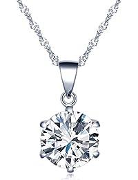 Infinito U Collares de Plata 925 Cadena de Clavícula Colgante de Diamante Brillante,Idea Regalo para Mujeres Chicas