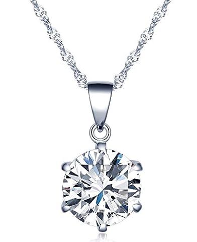 Infinite U pendentif collier-6 griffes simples avec le diamant inséré-925 argent et zircon-pour les femmes les filles