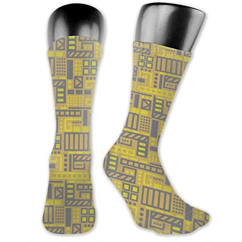 Birds Eye View In Mustard Unisex Athletic Full Crew Socks Running Gym Compression Foot