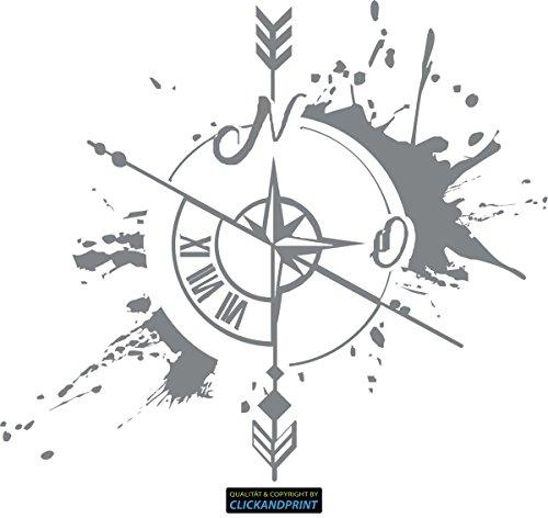 CLICKANDPRINT Aufkleber » Weg und Zeit, 30x26,3cm, Silbergrau Metallic • Dekoaufkleber / Autoaufkleber / Sticker / Decal / Vinyl