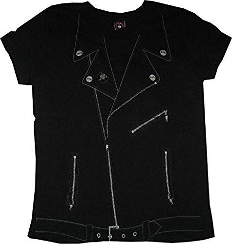 Emily the Strange Junior women's shirt tee Leather Coat Zipper schwarz - Small (Junior)