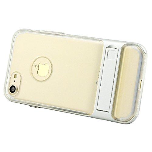 iPhone 8 Plus Hülle, Fraelc iPhone 7 Plus Transparent Schutzhülle Case Premium Kratzfest TPU Durchsichtige Tasche mit Harten Plastik Bumper Klappständer Handyhülle für Apple iPhone 7 Plus / iPhone 8 P Silber