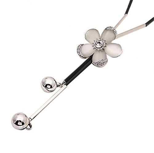 Hosaire Moda mujer opal diamante de cinco flores de las hojas largo cadena encantos suéter collar accesorios de la joyería