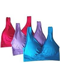 5c85d5284291a Zooarts Bra® 3Pcs set Bra Classic Seamless Ladies Women Rose Red Deep  Blue Purple Plus Size Padded Comfort Top Sport Bra Yoga…