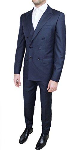 Abito completo alta sartoria uomo doppiopetto blu scuro navy marine elegante cerimonia