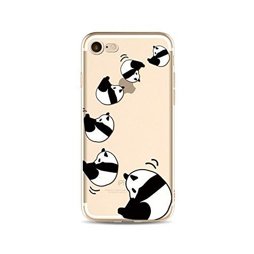 "CoqueiPhone 6S Etui Housse,BoomTeck Coque Pour 4.7"" Apple iPhone 6S/iPhone 6 Silicone Souple Transparente Motif Clear Ultra Mince Anti Choc Anti-rayures Gel TPU Etui Protection Bumper Case Panda Mign 01"