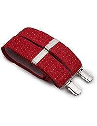 Savile Row Men's Red White Small Spot Braces In Gift Box