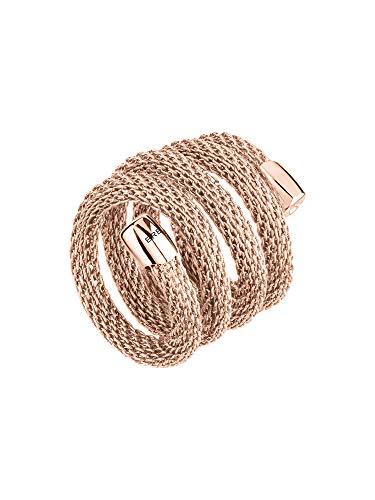 Breil - Flexibler und moderner Ring für Frauen/Damen im Edelstahlmesh Design - New Snake Kollektion - Länge: 20 cm - Rosegold - TJ2722