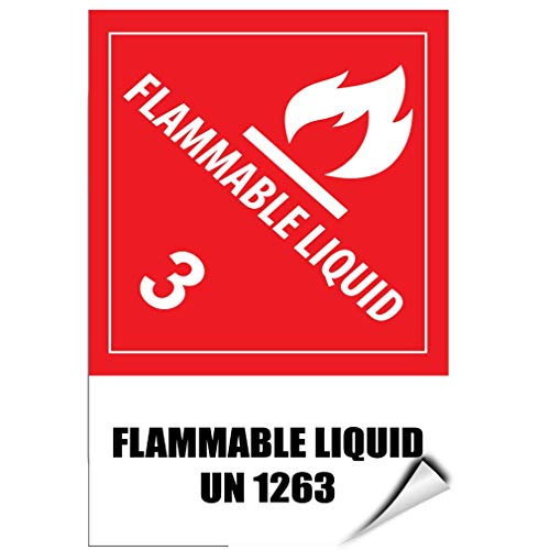 Label Decal Sticker Flammable Liquid 3 Flammable Liquid Un1263 Hazard Sign Durability Self Adhesive Decal Uv Protected & Weatherproof