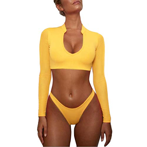 lid Color Badebekleidung Dame Swimsuit Sexy Bikini Thong Langen Ärmeln Mesh-Top Swin Spa Anzug ()