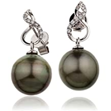 0, 15CT Certified g/VS2 barroca Taihitian Pearl extractores timando with round su pasamanos diamonds Twisted shape en juego 18 quilates White oro