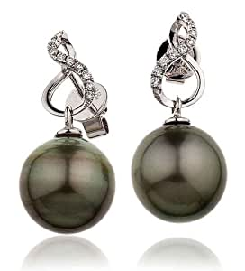 0.15CT Certified G/VS2 Baroque Taihitian Pearl Stud Earrings with Round Brillaint Set Diamonds Twisted Shape in 18K White Gold