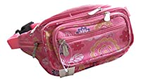 Ladies Bright Coloured Floral 7 Zip Nylon Bumbag Waist Bag Money Belt - Light Floral Pink