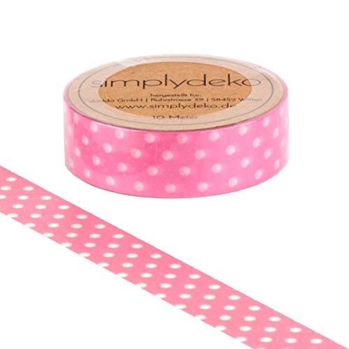 Simplydeko Washi Tape - Masking Tape Punkte - Wundervolles Washitape Bastel-Klebeband aus Reispapier - Pünktchen Rosa -