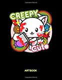 Creepy Cute Artbook: Creepy Cat Sketchbook: 8.5x11 A4 Anime Manga Comic Art Book Or Drawing Journal For Art Students Teacher Professor
