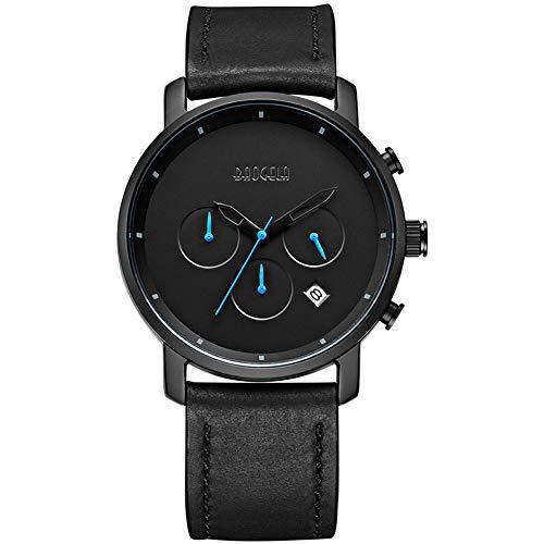 Orologio analogico da uomo digitale analogico in acciaio inossidabile orologio al quarzo nero orologio multifunzionale da tavolo in acciaio cinturino nero al quarzo movimento quadrante 42mm