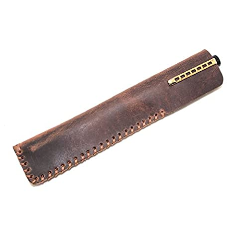 Retro Leather Single Fountain Pen Case Bag Pouch Holder, Handmade Crazy Horse Leather Vintage Pen Protective Sleeve Pouch