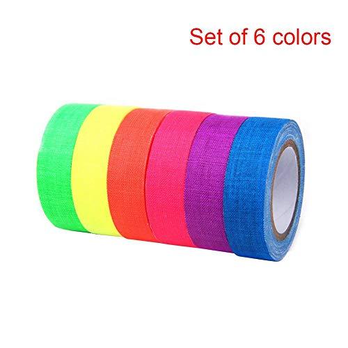 1/6 STÜCKE UV Baumwolle Band Grade Fluoreszierende Gaffer Tap Art Craftneon Band Leicht Zu Reißen Für Party Bodenstufen Whiteboard